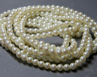 Long Strand of Vintage 4mm Cream Round Glass Pearl Beads