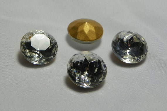 Vintage Czech Sparkling Crystal Round 14mm (ss60) Faceted Glass Stones (4)