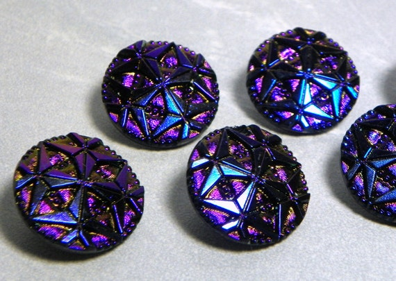 Vintage Czech Geometric Round Iridescent Deep Blue and Purple 22.5mm Glass Buttons (4)