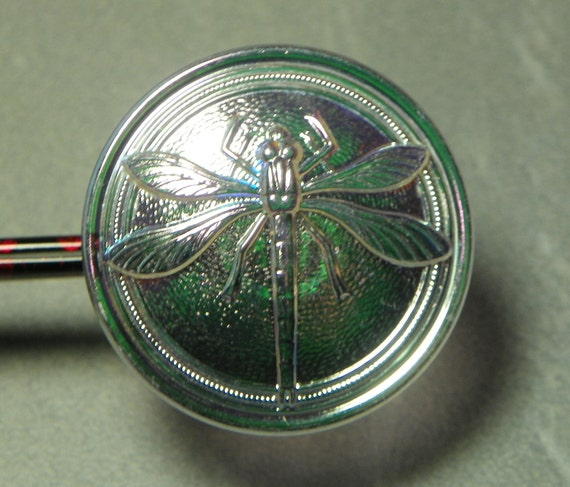 Vintage Clear AB Dragonfly 30mm Glass Button (1)