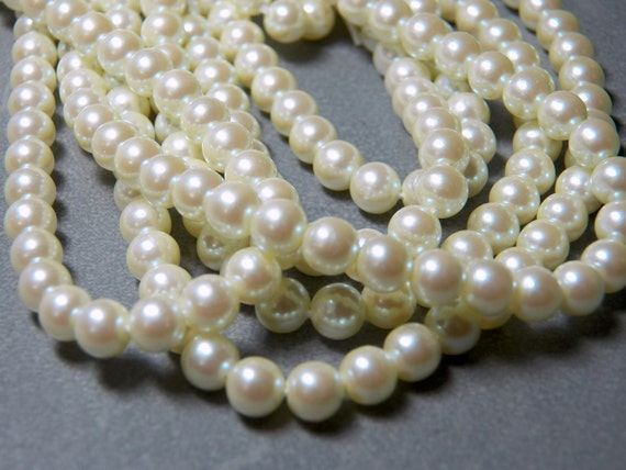 Long Strand of Vintage 6mm Cream Round Glass Pearl Beads