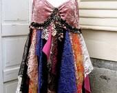 Flower Pie OOAK Upcycled Velvet and Lace Shabby Boho Tattered Pixie Dress Size Large