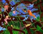 Jungle Swingin', children's art print, handmade, art online, wall art, by flutterbrush on etsy