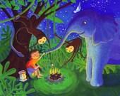 Jungle Camp, children's art prints, art online, by flutterbrush on etsy
