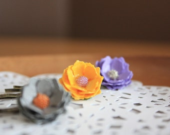 Set of 3 Paper Flower Hairpins - Lavender Yellow Grey - Unique Hair Accessories - Gifts under 20