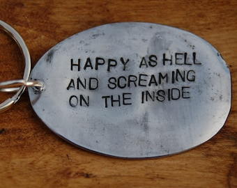 happy as hell key ring