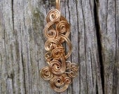 Wire Wrapped Pendant - Gold Filigree Wire Necklace