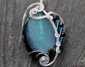 Teal Dragon Vein Fire Agate Wire Wrapped Pendant - As Featured in the GBK MTV Movie Award Gift Lounge Celebrity Swag Bags