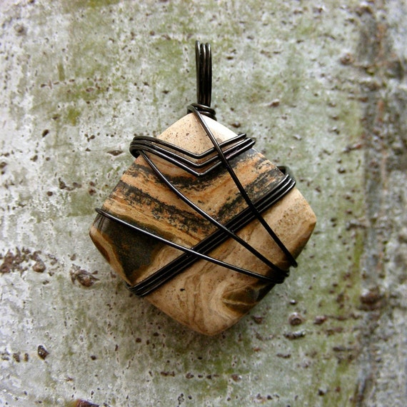 CLEARANCE - Masculine Gunmetal Wire Wrapped Pendant- Fossil Stromatolite Stone Necklace
