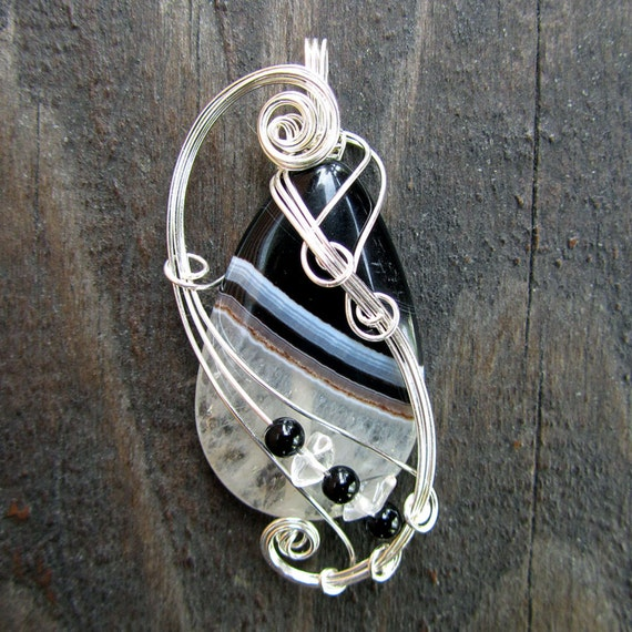 Wire Wrapped Pendant - Black and White Crystal Druzy Agate Necklace in Silver