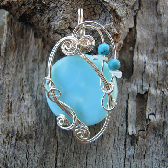 Blue Peruvian Opal Necklace - Silver Wire Wrapped Gemstone Pendant