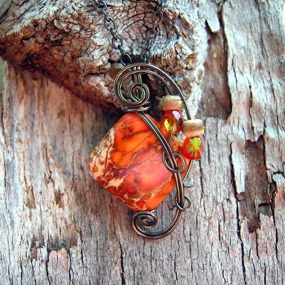 Orange Impression Jasper Wire Wrapped Pendant Necklace in Antique Bronze