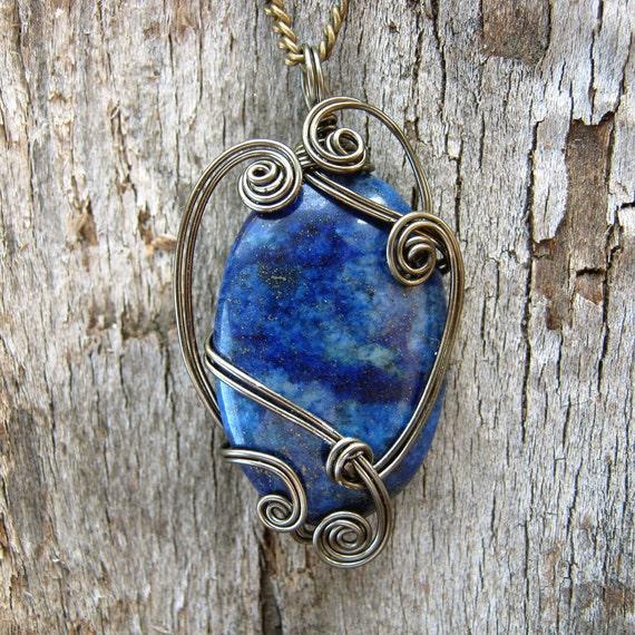 Lapis Lazuli Wire Wrapped Pendant Necklace in Gunmetal - Healing Stone