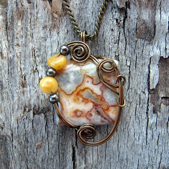 Wire Wrapped Pendant - Gold Yellow Crazy Lace Agate Necklace in Gunmetal