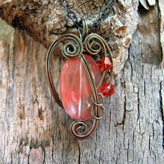 Wire Wrapped Necklace- Watermelon Agate Gemstone Pendant in Silver