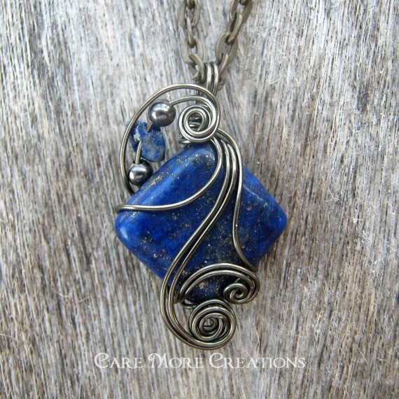 Blue Lapis Lazuli Wire Wrapped Pendant Necklace in Gunmetal Wire