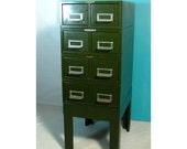 Industrial Card Catalog File Cabinet Emerald Green 3' tall