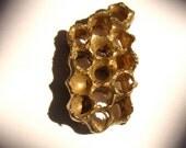 Golden Honeycomb ring Bee hive Wasp Nest Metalwork Bronze and 14kt vermeil