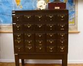 Vintage Wooden Card Catalog Industrial School Library 25 drawer oak wood