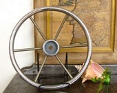 Stainless Steel Ship Steering Wheel Industrial Home Decor