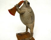 large mariachi frog playing horn Vintage Mexican taxidermy frog