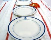 Set of 5 Vintage US Navy Dishes Naval Insignia Industrial plates Restaurantware Military Cruise