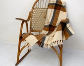 Vintage Tartan Plain Wool Throw Blanket Lake House decor Cream Brown Gray