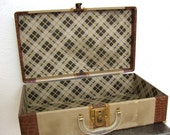 Vintage 1930s Suitcase wooden luggage with Striped exteriror Plaid Interior small size overnight bag
