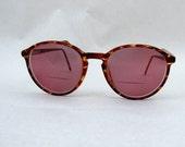 Vintage 80s Round Horn Rim Red Frame Eyeglasses sunglasses frames