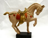 Mid Century Horse Sculpture ceramic Hollywood Regency Chinoiserie Mad Men