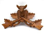 Vintage Wooden Deer carved Large Black Forest Cuckoo clock crest Woodland home decor