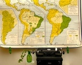 Vintage Wall Map Large South America Industrial Home Decor