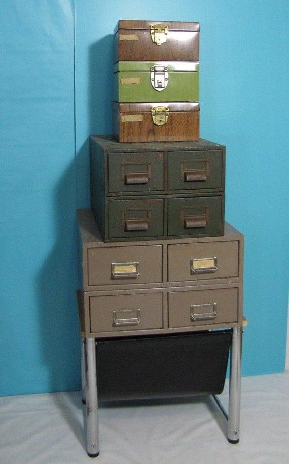 Vintage File Boxes Index card holder stacking metal drawers