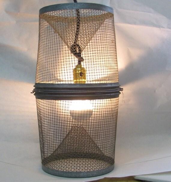Vintage Nautical Lighting Fish Trap Cage Pendant Light