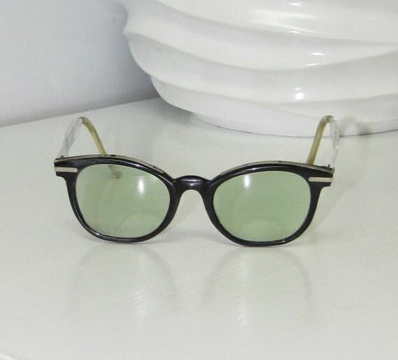vintage 60s Tart Arnel or Ray Ban style eyeglasses frames Kennedy Era Black Chrome