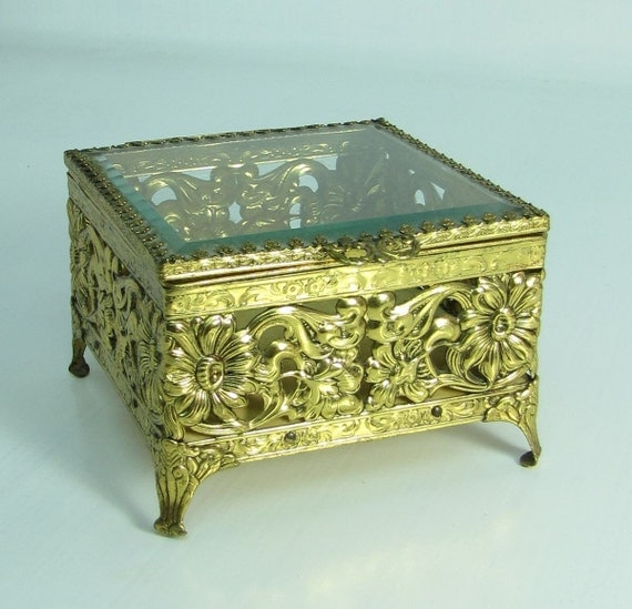 Vintage Floral Filigree square glass casket jewelry box