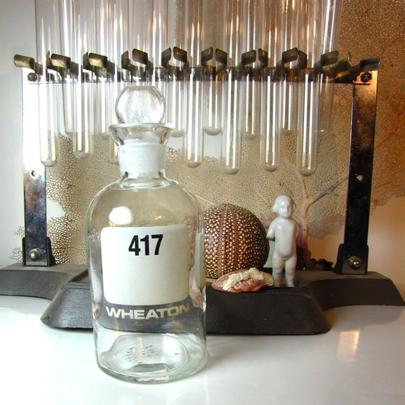 Vintage Glass stopper bottle apothecary jar Laboratory Industrial Scientific Wheaton Pyrex Lab Glass