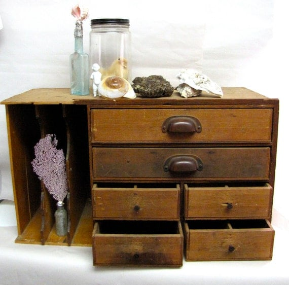 Wooden Desktop File Cabinet Amp Curio Storage Unit 1920s Vintage