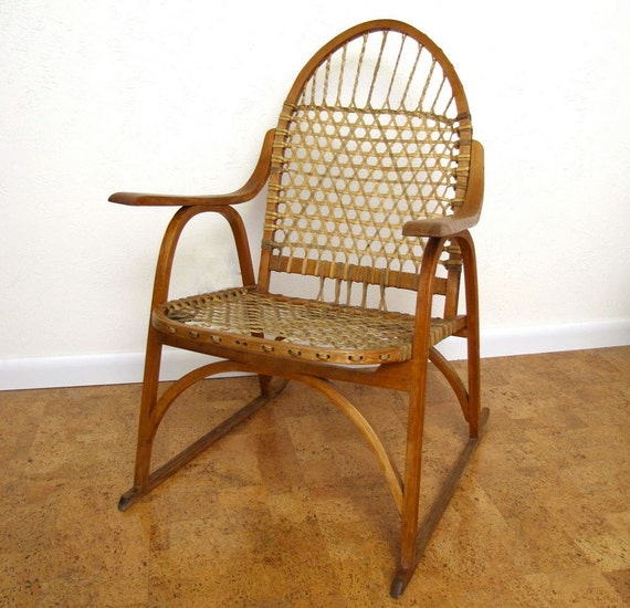 Vintage Mid Century Chair Primitive Adirondack Snow Shoe Lodge Chair Moonrise Kingdom