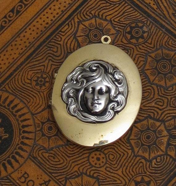 Art Nouveau Revival locket silver and gold tone Alphonse Mucha