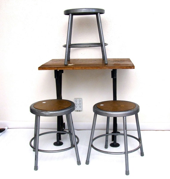RESERVED 4 Industrial Shop Stools Dining or Workbench Seating Silver finish with brown presswood seats
