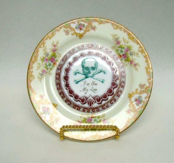 Poison Plate Victorian Green Gold and Floral Swag Wall Plate for you my love Chase and Scout