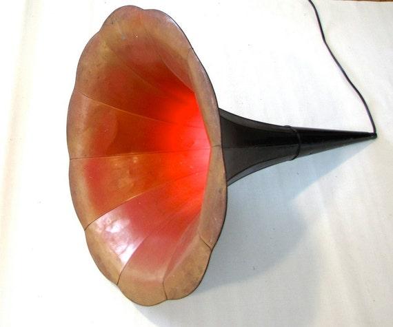 Vintage lighting Chandelier Industrial Morning Glory Victrola Phonograph Horn