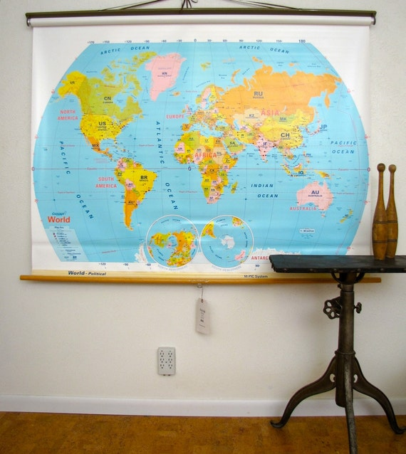 Vintage Wall Maps School House Pull Down World and US - 2 Maps in One