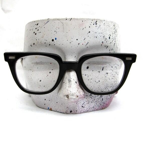 Authentic Vintage 60s nerdy black Safety Glasses by Norton Mad Men Era Plain glass lenses NON Prescription