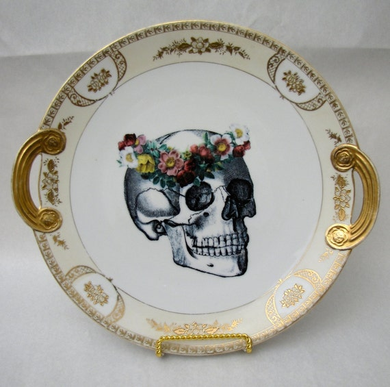 Altered vintage Plate May Queen Day of the Dead Skull Wall Plate Home Decor