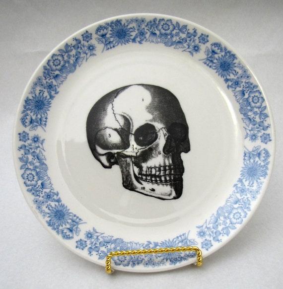 Vintage Blue Skull Plate vintage wall plate home decor altered vintage Royal Blue