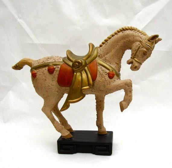 Mid Century Horse Sculpture ceramic Hollywood Regency Chinoiserie Mad Men