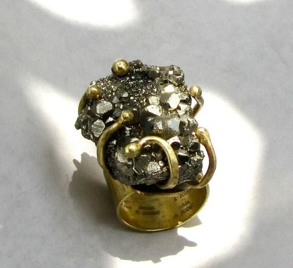 Pyrite Nugget Ring Handmade Adjustable