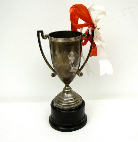 Silver Plate Vintage Trophy Loving cup on wooden stand 60s